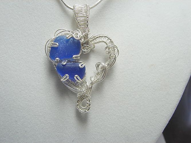 Amazon.com: Sea Glass Seaglass Pendant- Rare Cobalt Blue Sea Glass ...