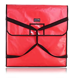 """New Star Foodservice 50400 Insulated Pizza Delivery Bag, 24"""" by 24"""" by 5"""", Red"""