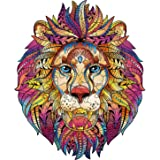 AOLIGE Wooden Jigsaw Puzzles Unique Shape Jigsaw Pieces Puzzle Entertainment Toys for Adults and Kids 6.3X7.7 Inches (Lion)