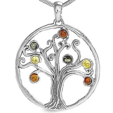 Bernstein Lebensbaum Anhänger Schmuck 925 Silber Amulett Medaillon  2013   Amazon.de  Schmuck e5d6946ddc