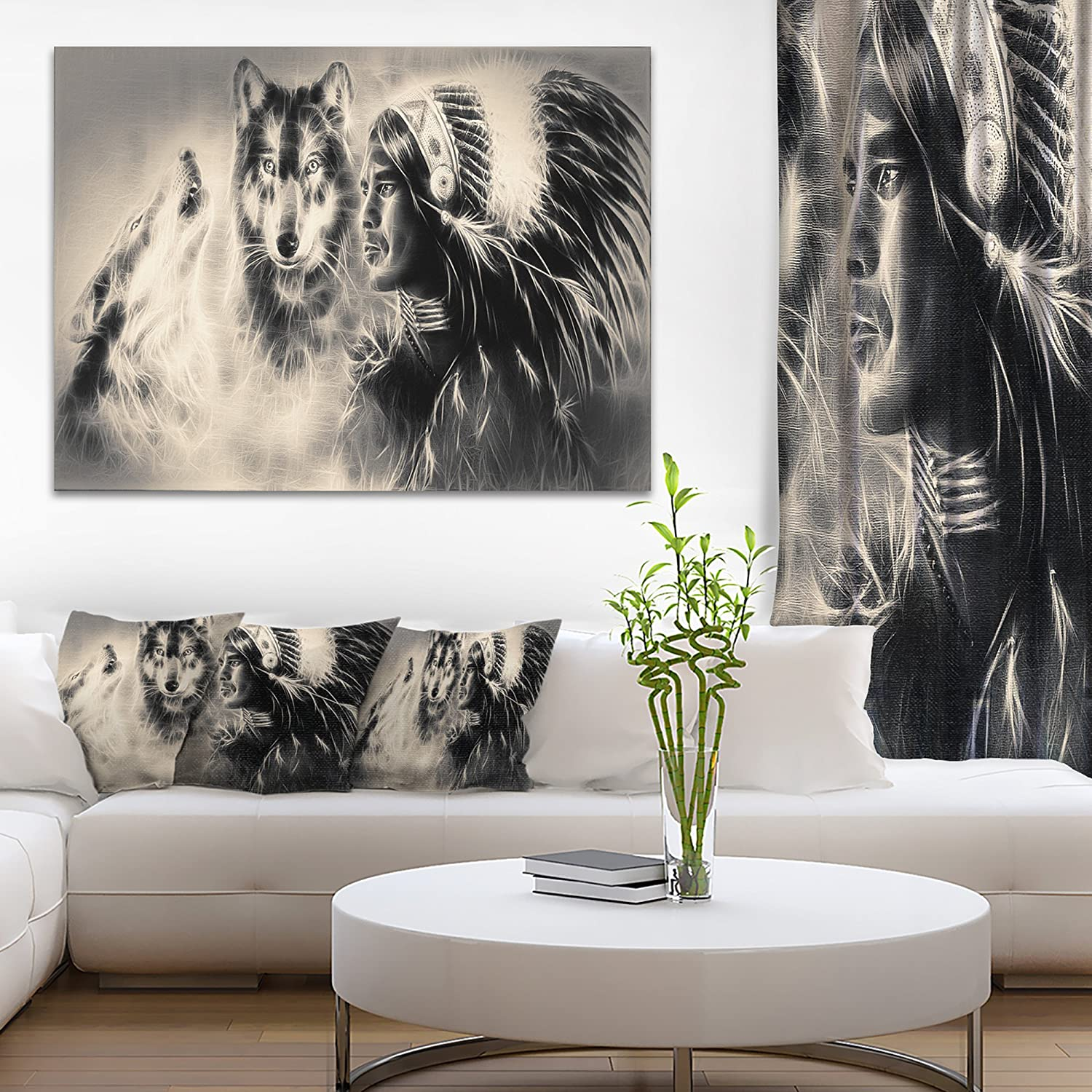 Indian Warrior With Wolves Abstract Print On Canvas Amazon In Home Kitchen