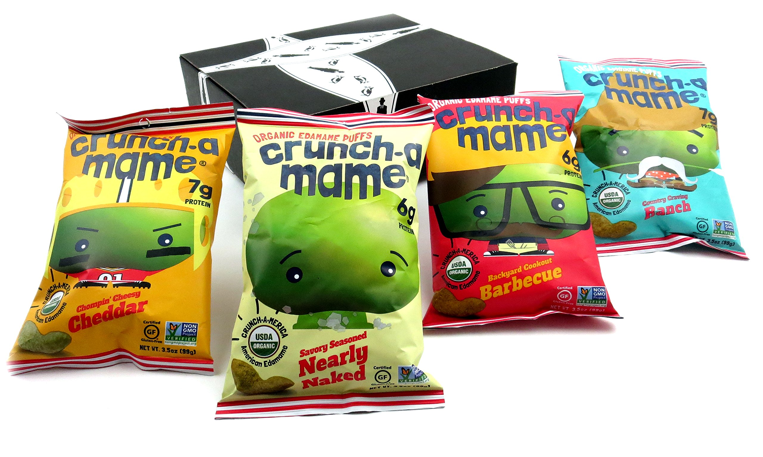Crunch-a-mame Organic Edamame Puffs 4-Flavor Variety: One 3.5 oz Bag Each of Cheddar, Barbeque, Ranch, and Nearly Naked in a BlackTie Box (4 Items Total)