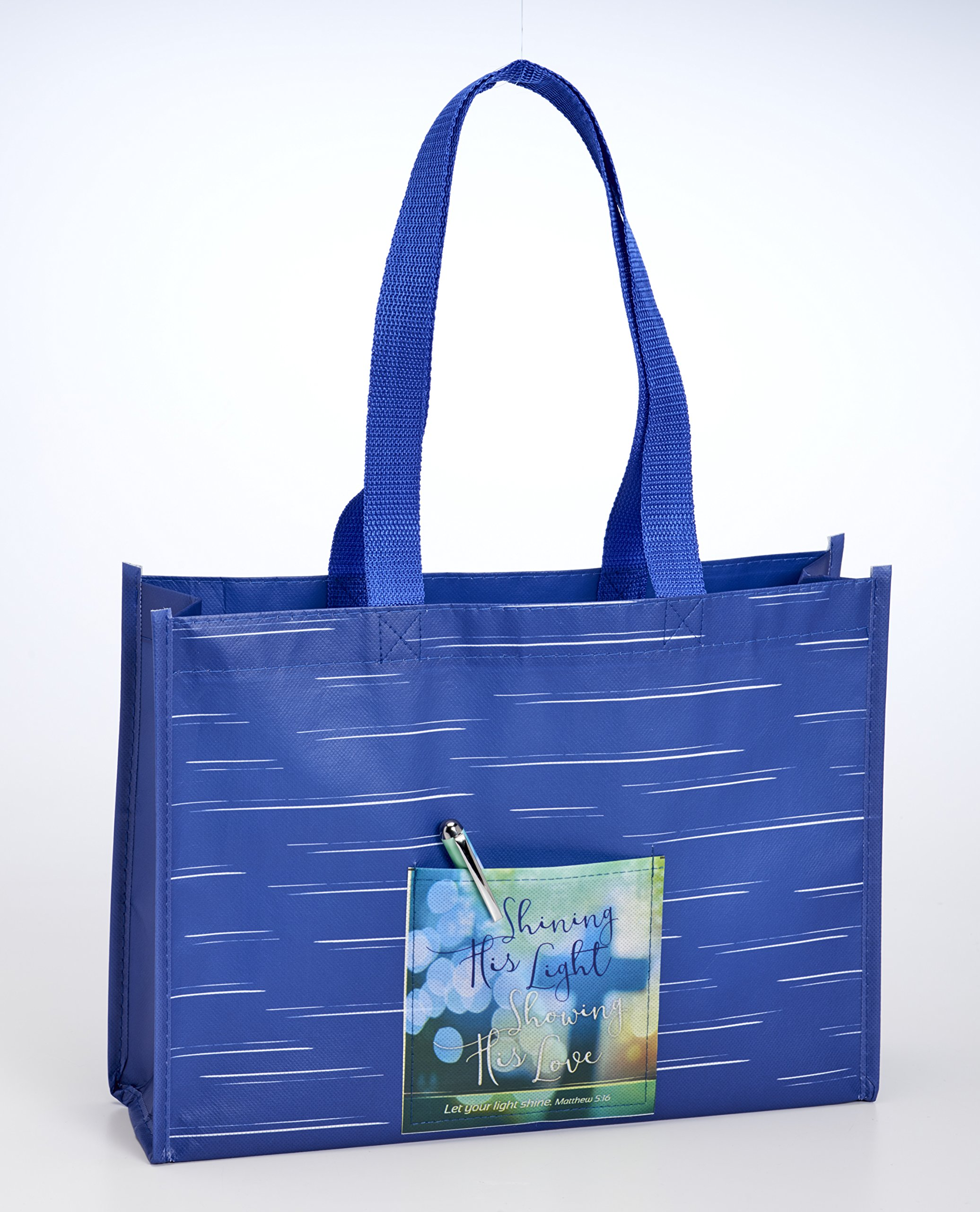 Shining His Light Love Blue 14 x 10 Inch Polyester Lined Basket Style Tote Bag