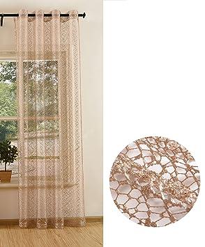646c6f5b12c6ff Gardinenbox Gardine Netz Struktur mit Ösen einfarbig transparent Deko  Vorhang Netzvorhang 1 Stück 245x140 Taupe,