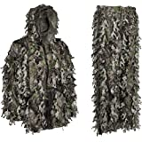 North Mountain Gear Ghillie Suit - Premium Hunting Clothes For Men - Solid Shell Woodland Green Camouflage - Knee Length Leg Zippers for Easy On and Off - Twice The Leafs of A Standard Camo Leafy Suit