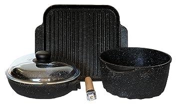 Batería de ollas - Set de sartenes de piedra volcánica antiadherente - Incluye: cacerola, sartén y parrilla + Tapa cristal de pírex - Made in Italy: ...
