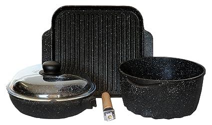 Batería de ollas - Set de sartenes de piedra volcánica antiadherente -