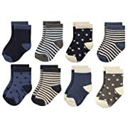Hudson Baby Basic Socks, 8 Pack, Stars/Stripes, 0-6 Months