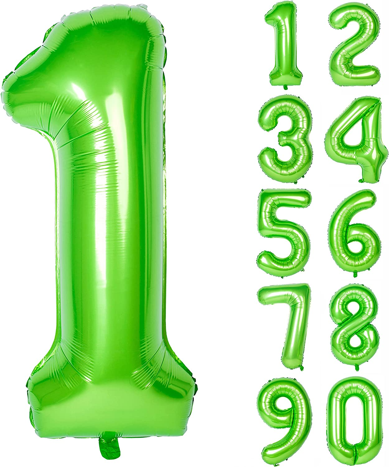 40 Inch Green Large Numbers 0-9 Birthday Party Decorations Helium Foil Mylar Big Number Balloon Digital 1