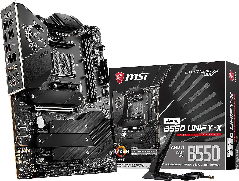 MSI MEG B550 Unify-X Gaming Motherboard (AMD AM4, DDR4, PCIe 4.0, SATA 6Gb/s, Dual M.2, USB 3.2 Gen 2, HDMI, Wi-Fi 6 AX, ATX, AMD Ryzen 5000 Series Processors)
