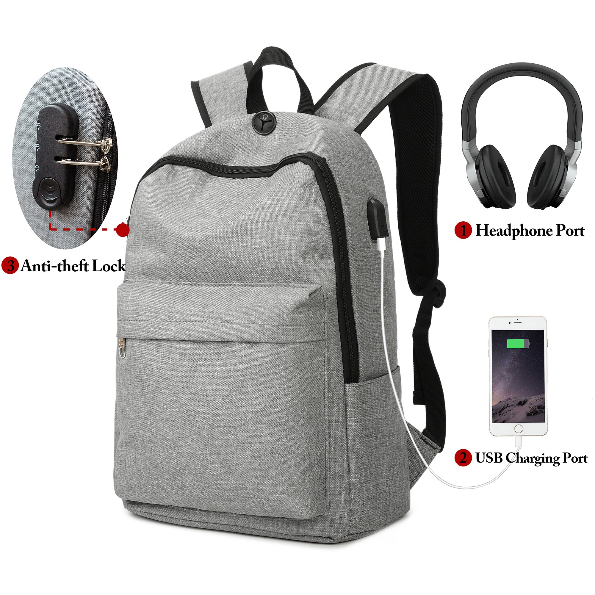 Laptop Backpack, Winblo Anti-theft Travel Laptop Backpack with USB Charging Port & Headphone Port & Lock School Bookbag for Men Women College Travel Backpack Fits Under 17 Inch Laptop