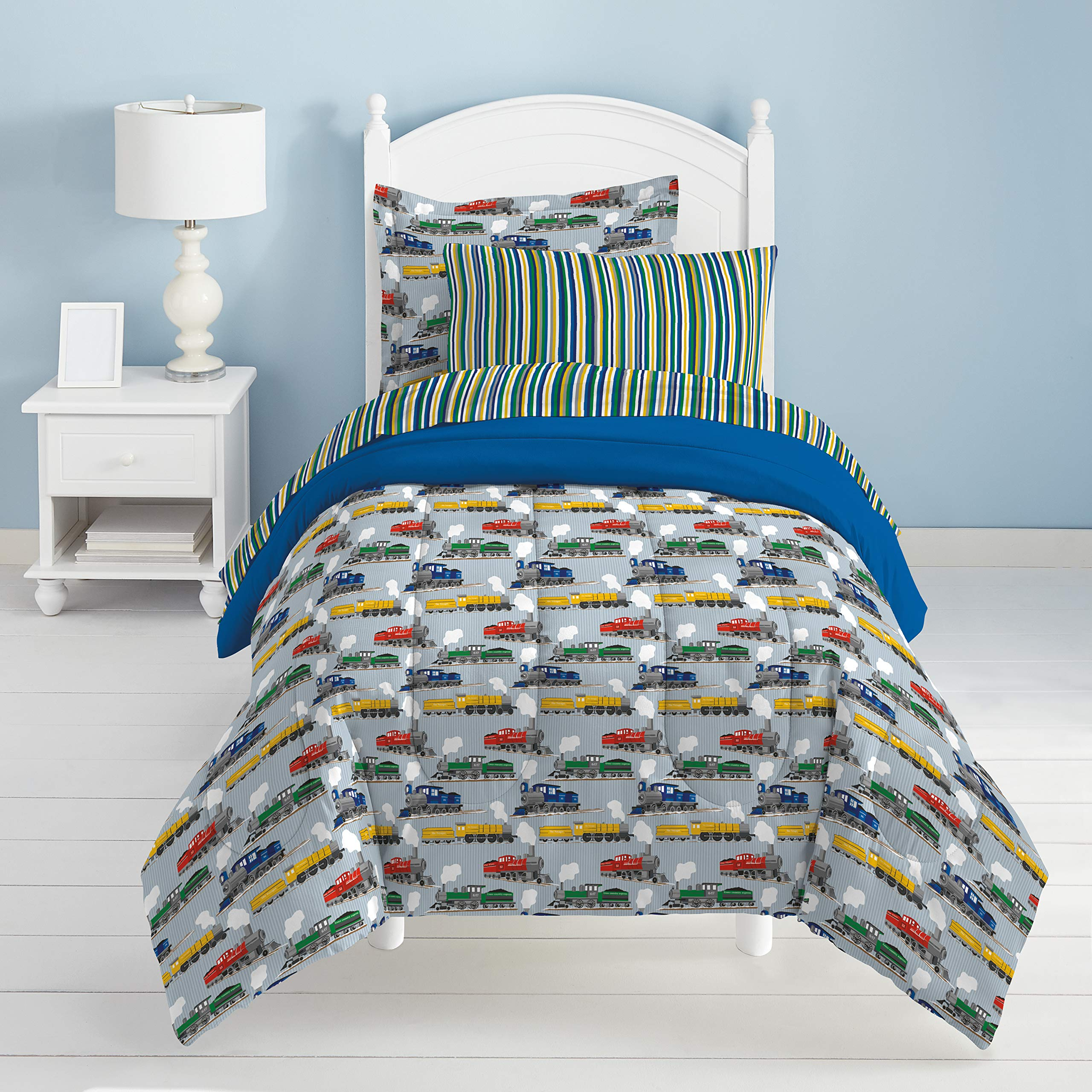 Dream Factory Trains Ultra Soft Microfiber Boys Comforter Set, Blue, Full by Dream Factory (Image #6)