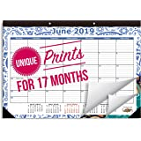 "2019 Desk Calendar Runs from August 2018 Through December 2019, Desk Calendar is Medium Sized 16 3/4"" x 11 4/5"" Monthly Calendar with Beautiful Unique Border Designs"