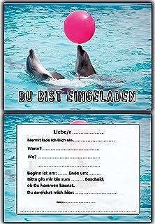 Delfin Einladungskarten Zum Kindergeburtstag Ausgefallen Mädchen Jungen    10 Stück