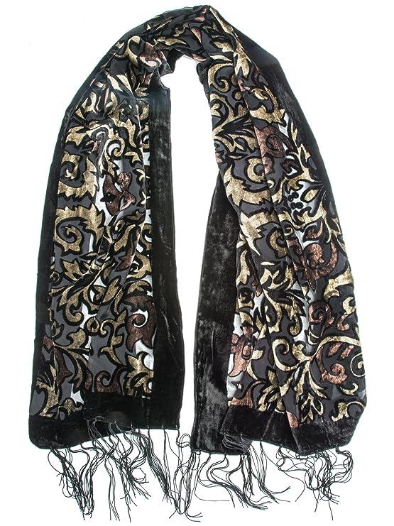 1920s Shawls, Scarves and Evening Jacket Tips Bohomonde Gia Scarf - Silk Brocade Print Velvet Burnout Scarf with Fringe Ends $17.95 AT vintagedancer.com