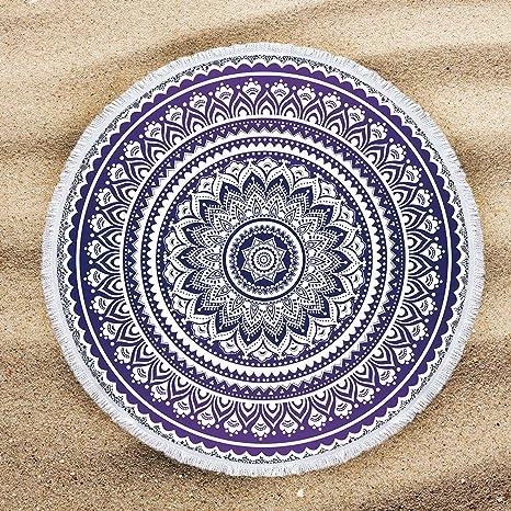 ARIGHTEX toalla de playa redonda de mandala morada con flecos y borlas