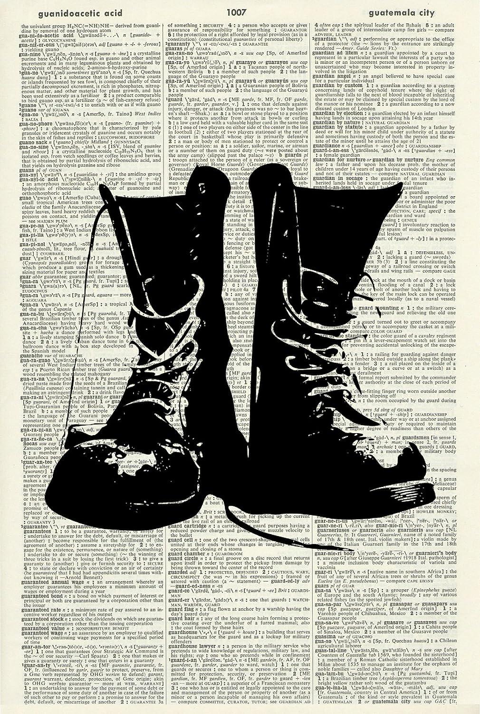 Boots Art Print - Vintage Art Print - Vintage Dictionary Art Print - Fashion Art Print - Black & White - Book Art - Illustration - Picture - Wall Hanging - Home Décor - Artwork 783D