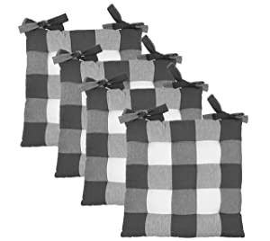 COTTON CRAFT - Set of 4 - Buffalo Check Chairpad -Grey - 17x17 Inches- Dining Chair Pad Cushion with Ties- Classic Design- Easy Fit to Chair