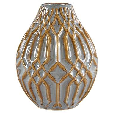 Stone & Beam Modern Ceramic Vase With Geometric Pattern, 4.4 H, Brown