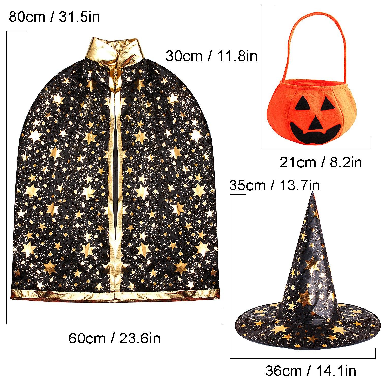 Negro Outee Capa de Capa de Halloween Disfraz de Halloween Capa del Bruja Mago con Sombrero Calabaza Basket para Ni/ños Ni/ñas