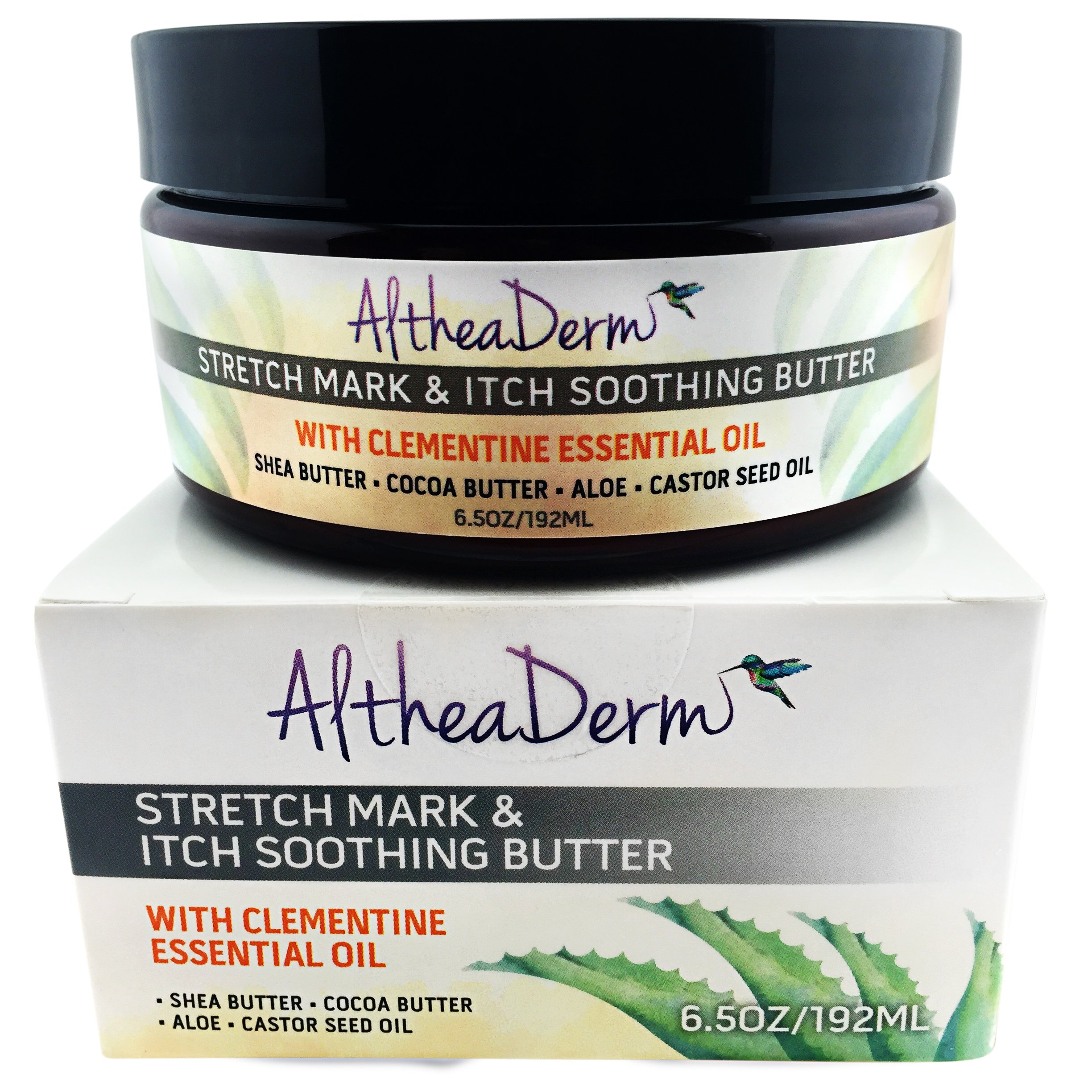 Stretch Mark Butter & Itch Soothing Butter w Clementine Essential Oil - Best Natural & Organic Ingredients - Itch Relief Cream - Stretch Mark Cream - Scar Cream - Pregnancy Oil & Pregnancy Cream in 1