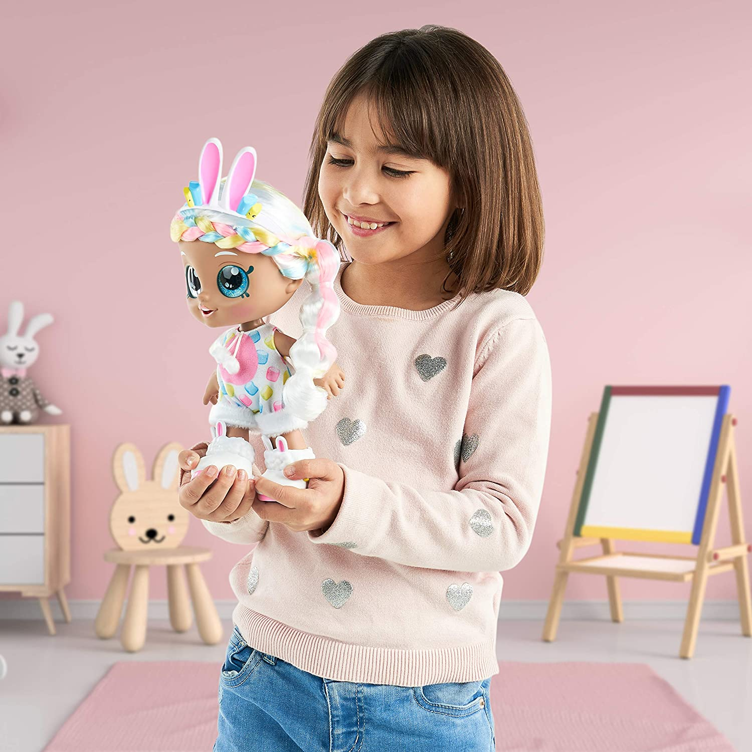 Kindi Kids Dress Up Friends Changeable Clothes and Removable Shoes for Imaginative Kids Doll Companion for Ages 3+ Pre-School Play Doll Marsha Mello Bunny