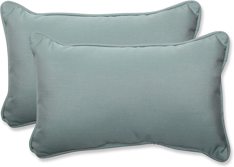 Amazon Com Pillow Perfect Outdoor Indoor Sunbrella Canvas Spa Lumbar Pillows 11 5 X 18 5 Blue 2 Pack Home Kitchen
