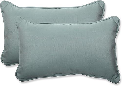 Pillow Perfect Outdoor Indoor Sunbrella Canvas Spa Lumbar Pillows, 11.5 x 18.5 , Blue, 2 Pack