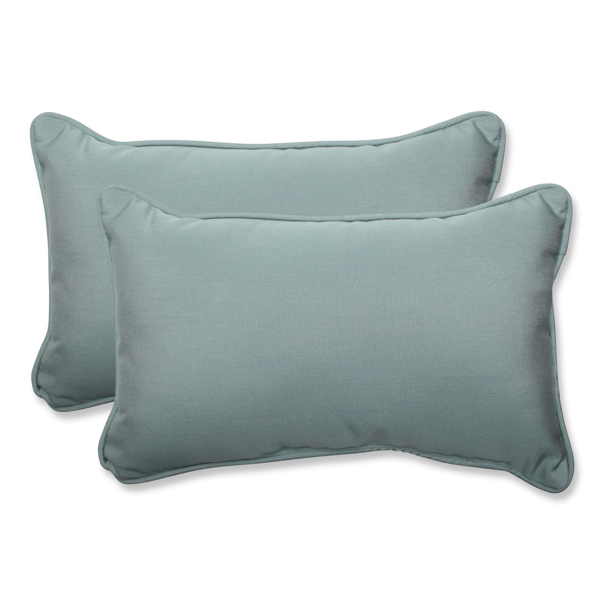 Pillow Perfect Indoor/Outdoor Rectangular Throw Pillow (Set of 2) with Sunbrella Canvas Spa Fabric, 18.5 in. L X 11.5 in. W X 5 in. D