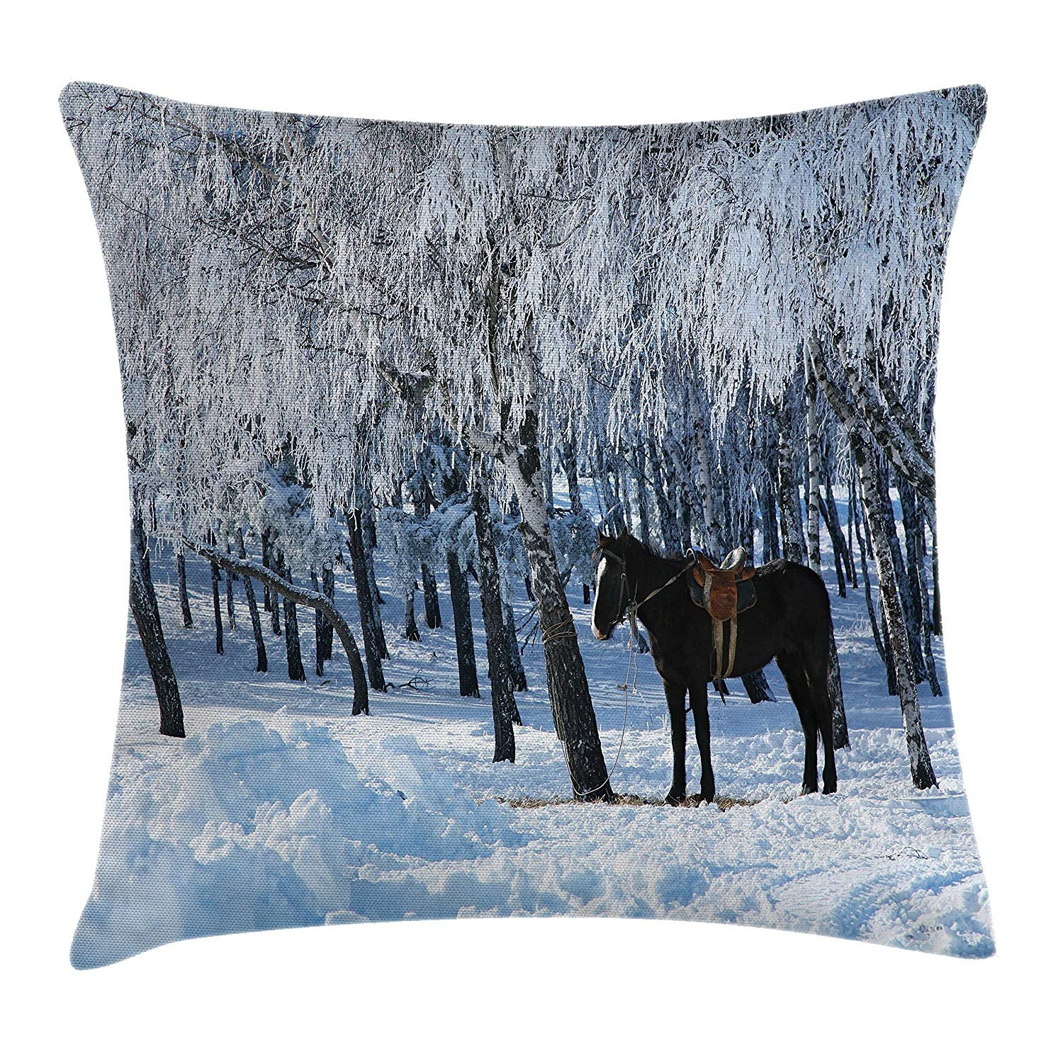 Queen Area Horse between Trees in Winter Forest Frozen Woods Icy Land Nature Picture Square Throw Pillow Covers Cushion Case for Sofa Bedroom Car 18x18 Inch, 18 X18 Inch, Brown White