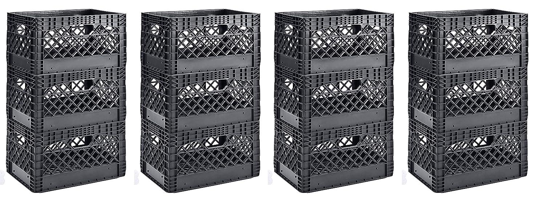 Muscle Rack PMK24QTB-3 24クォート ブラック 高耐久 長方形 積み重ね可能 乳乳瓶 高さ11インチ 幅19インチ 4 X Pack of 3   B07HFJHW7L