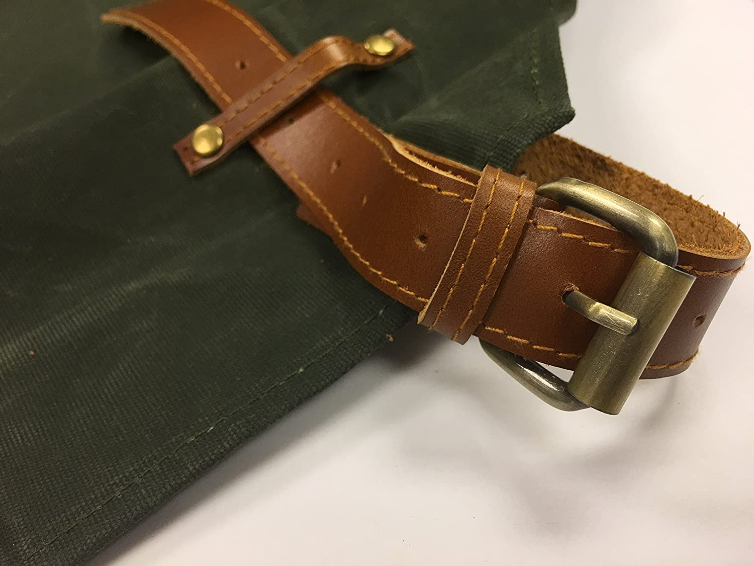 Mud Brown Water Resistant Artisan Aprons by Gouache Handmade Waxed Canvas Apron with Leather Straps