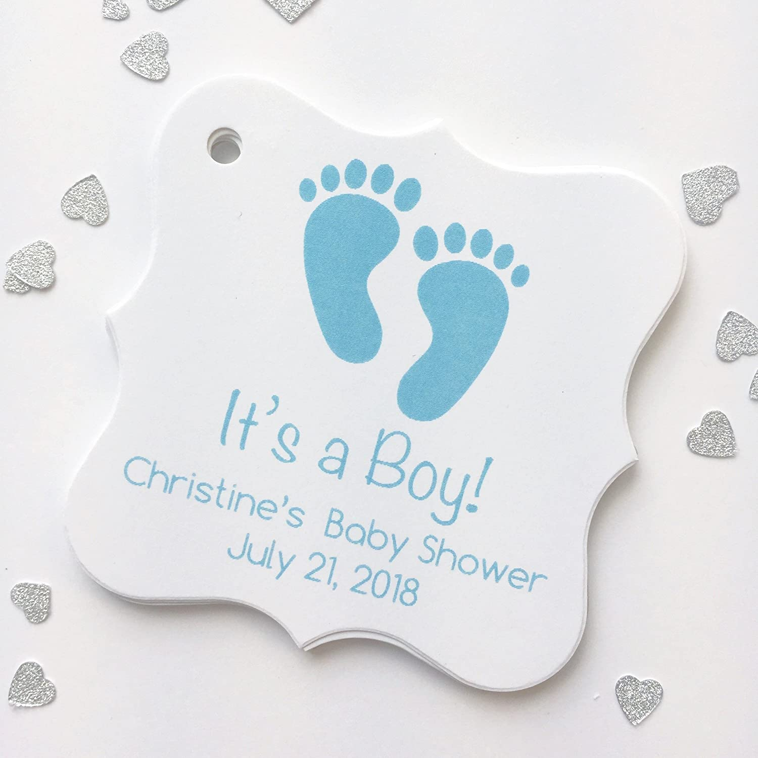 Amazon.com: It's A Boy Baby Shower Tags, Baby Feet Shower Favor Tags,  Custom Tags (FS-162-2): Handmade