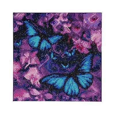 CRYSTAL ART Blue Violet Butterflies 30x30cm Framed Kit: Toys & Games