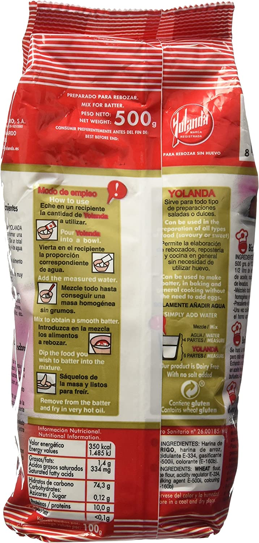 Yolanda - Harina Para Rebozar Sin Huevo 500 gr - Pack de 6 (Total 3000 grams): Amazon.es: Alimentación y bebidas
