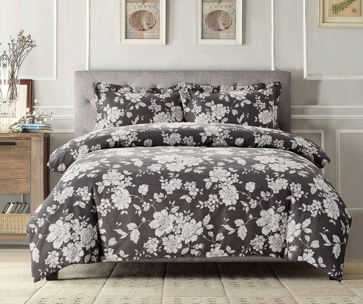Gray Floral Duvet Cover Set, White Vintage Flowers Pattern Printed on Grey