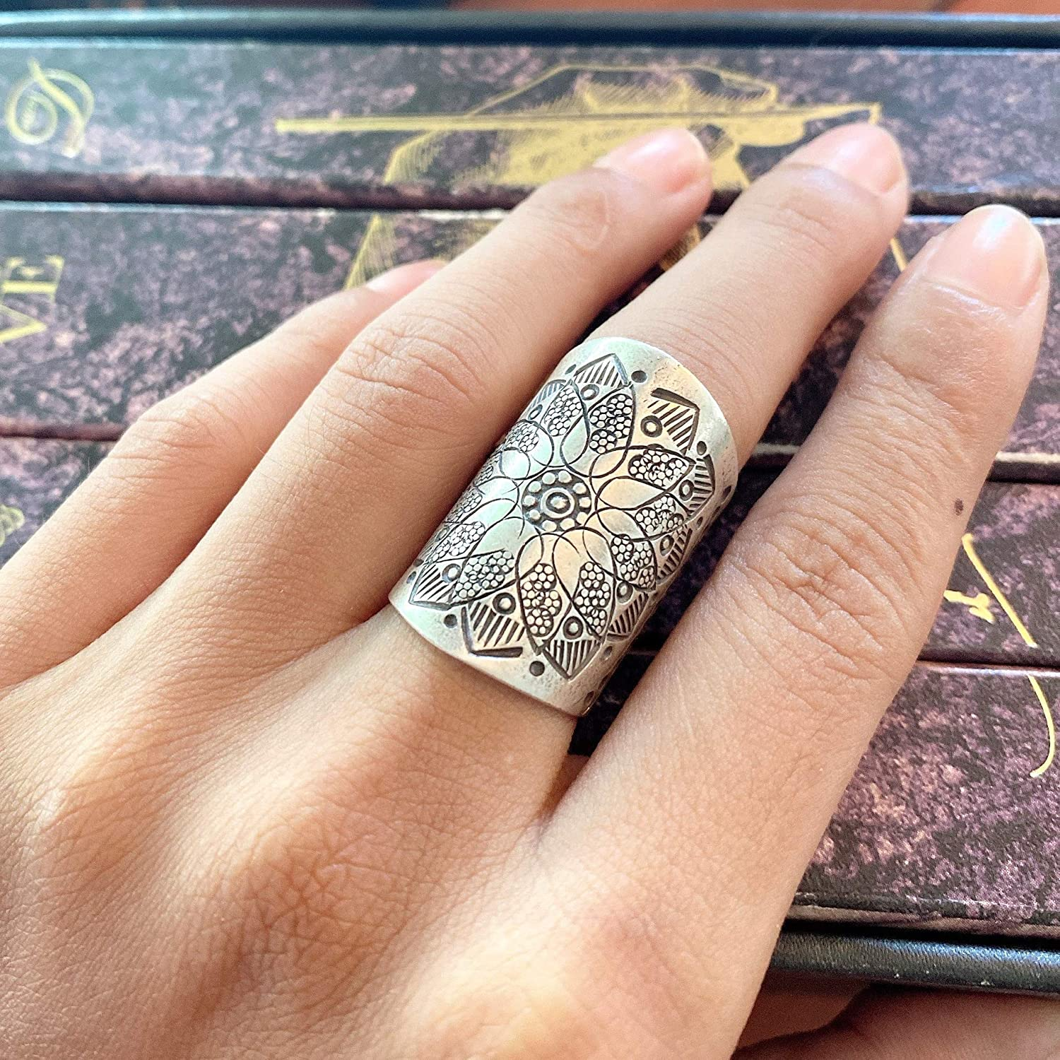 Two Tone Statement Ring Thumb Ring Ramjewel Boho Feather Ring Leaf Ring Bohemian Rings for Women 925 Sterling Silver Ring Wrap Ring