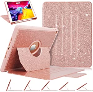 "iPad 8th Generation Case, iPad 7th/8th Gen 10.2"" Case, Luxury [Glitter Sparkly] Multi-Angle Viewing Shockproof Full Body Protective Cover for iPad 10.2 2020 & 2019, Auto Wake/Sleep, Rose Gold"