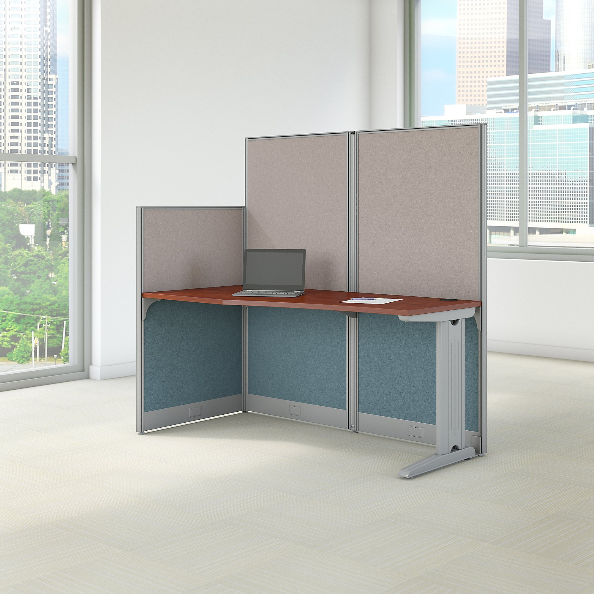 Bush Business Furniture Office in an Hour 65W x 33D Cubicle Workstation in Hansen Cherry by Bush Business Furniture (Image #2)