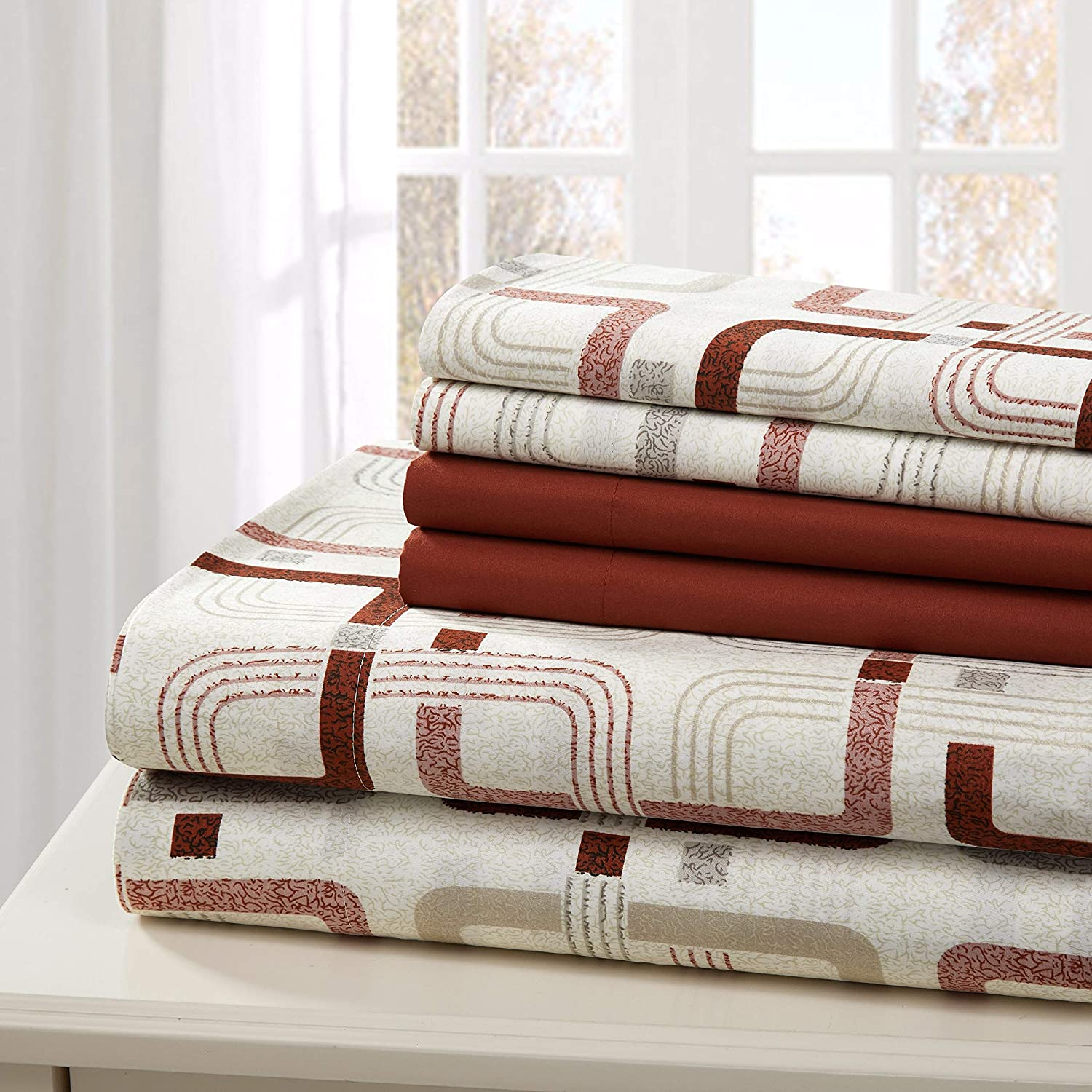 Traditional Home Sheet Set Cotton Percale 6 Piece Print Twin Full Queen King Soft (Brown Square, Queen)