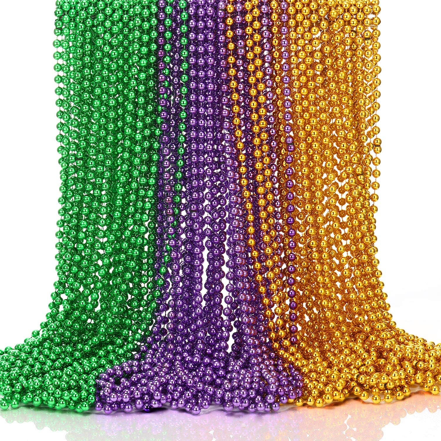 WILLBOND Mardi Gras Beads Round Bead Necklace Costume Necklace for Mardi Gras Themed Party Decor, 3 Colors, 32 Inch 7 mm (36 Pieces)