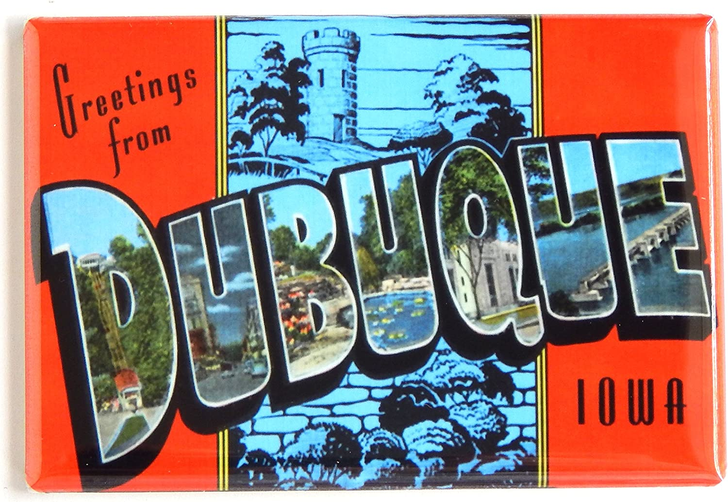 Greetings from Dubuque Iowa Fridge Magnet (2 x 3 inches)