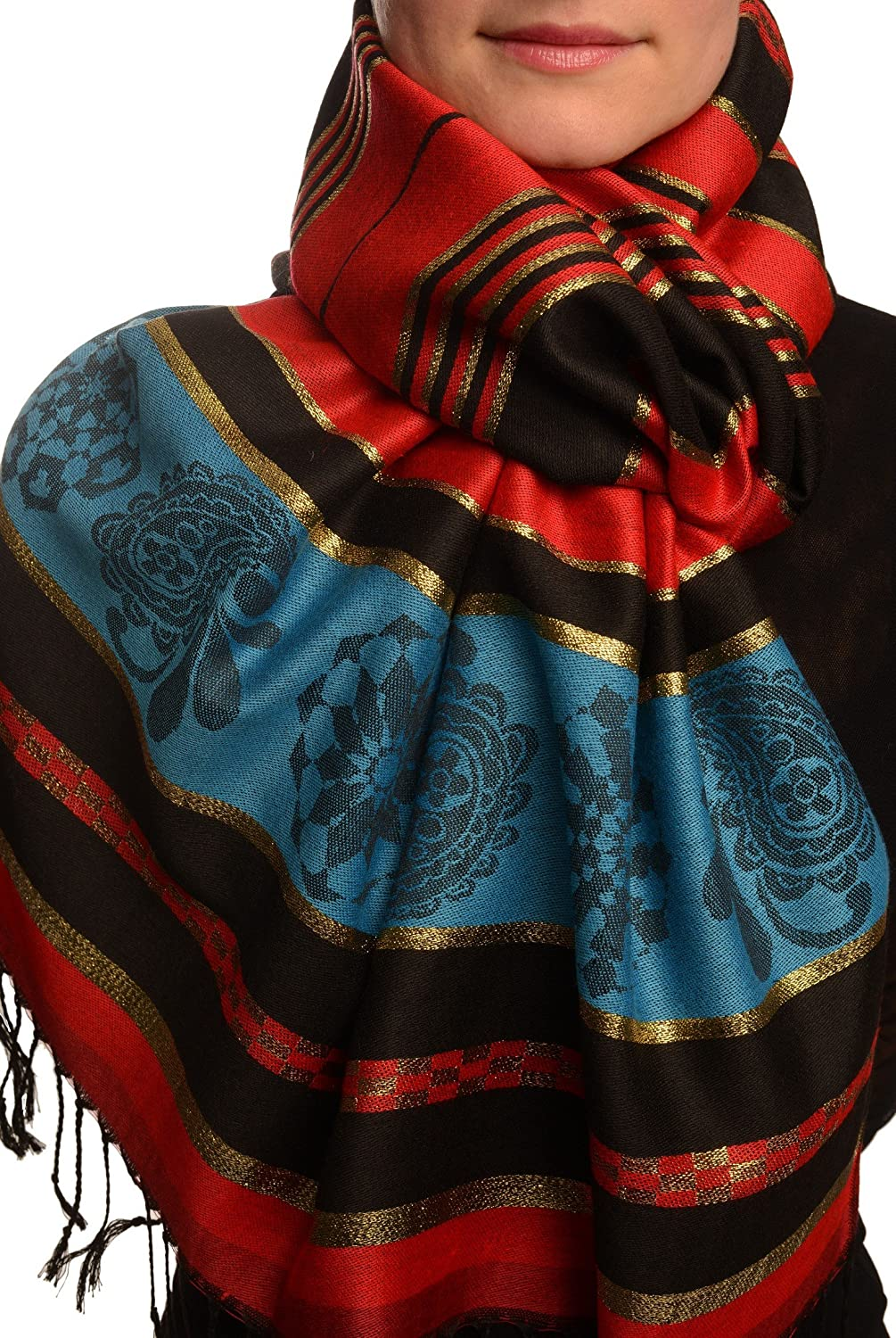 Red Stripes & Gold Lurex Pashmina Feel With Tassels - Scarf