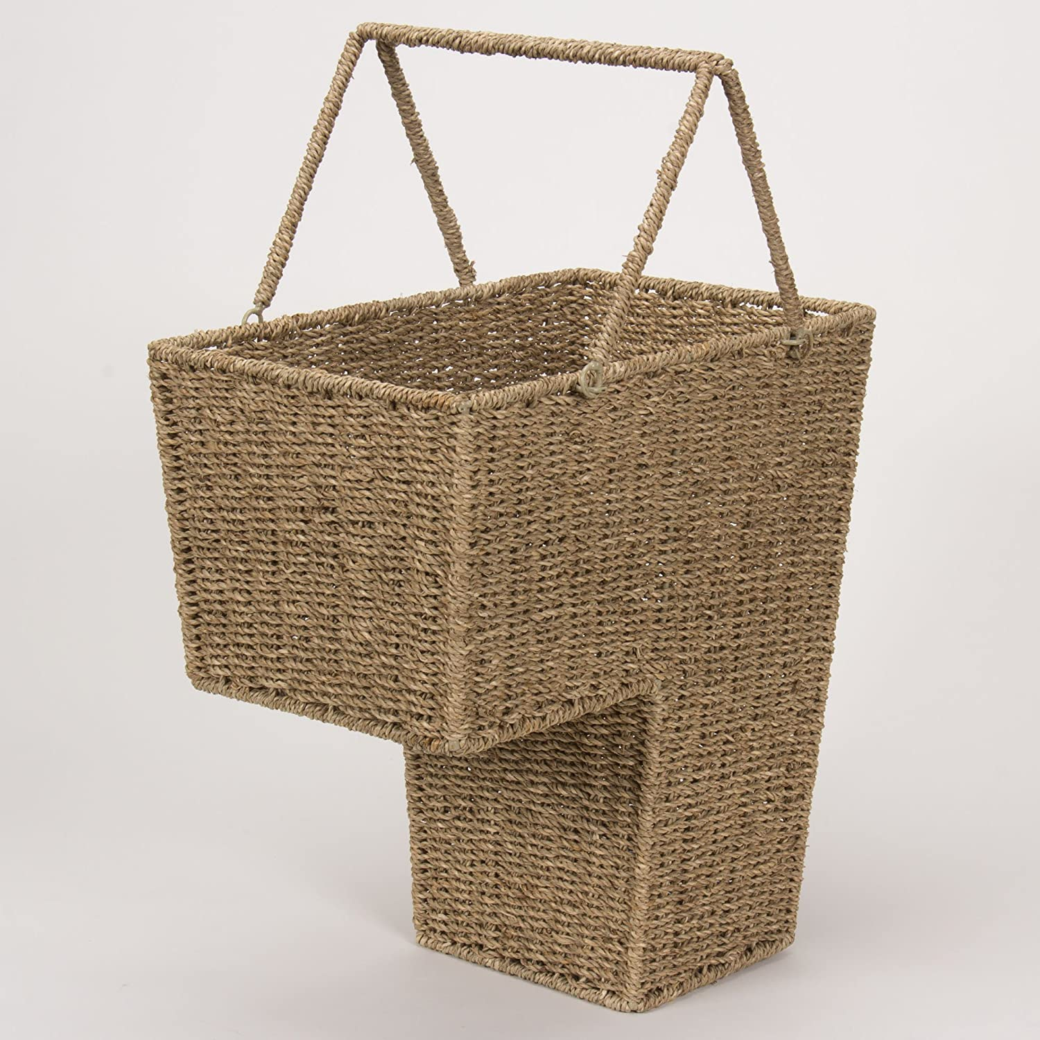 Amazon.com: Household Essentials ML 5647 Seagrass Wicker Stair Step Basket  With Handle | Natural Brown: Kitchen U0026 Dining