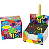 Scratch Off Mini Notes + 2 Stylus Pens: 150 Sheets of Black Note Paper with Rainbow Holographic background for Kids Art and Craft Projects, Doodling & Lists - Unique Gift Idea for Kids or Anyone!