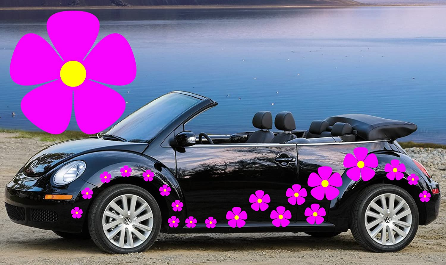 32 PINK /& SKY BLUE FLOWER CAR DECALS,STICKERS,CAR GRAPHICS,DAISY STICKERS