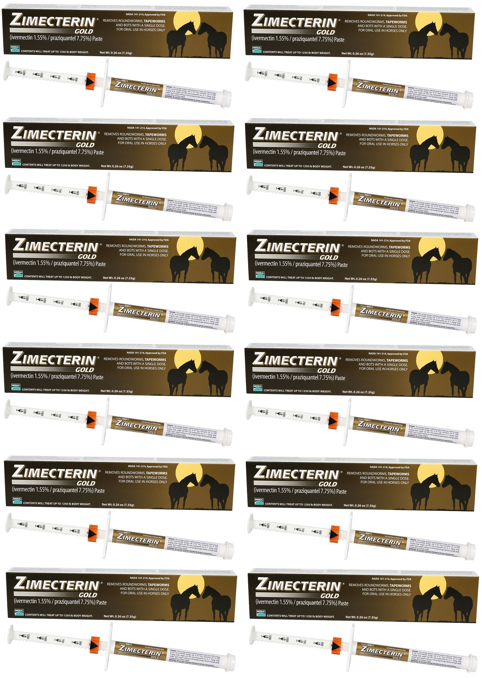 ZIMECTERIN GOLD HORSE WORMER IVERMECTIN PYRANTEL ALL SIZES (12 Tubes)