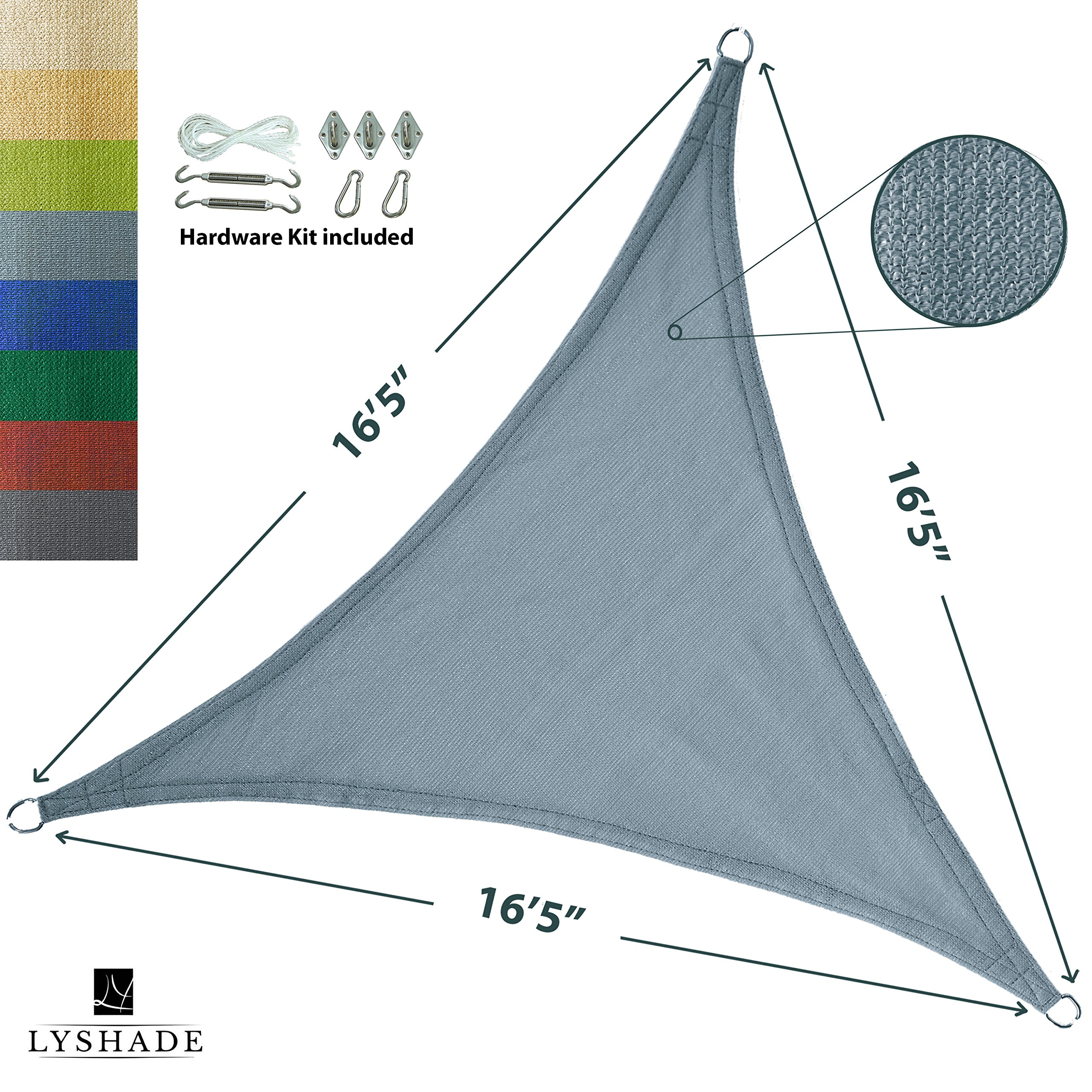 LyShade 16'5'' x 16'5'' x 16'5'' Triangle Sun Shade Sail Canopy with Stainless Steel Hardware Kit (Cadet Blue) - UV Block for Patio and Outdoor by LyShade