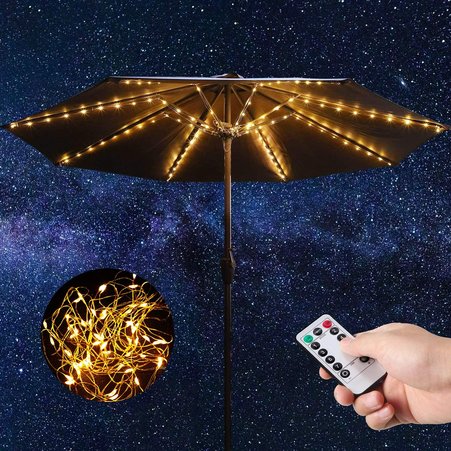 Patio Umbrella Lights Warm White String Lights with Remote Control 104 Bright LED 8 Modes Wireless Battery Operated Waterproof Outdoor Pole Lights for Patio Umbrellas Camping Tents Garden Decoration
