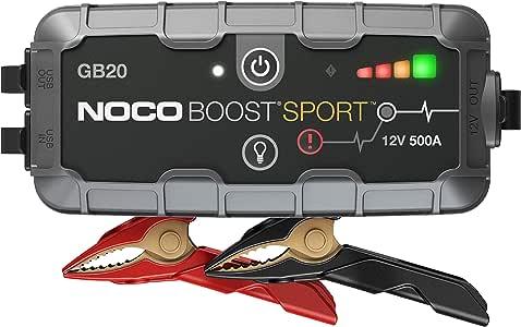 NOCO Boost Sport GB20 400 Amp 12-Volt Ultra Safe Portable Lithium Car Battery Jump Starter Pack for Up to 4-Liter Gasoline Engines